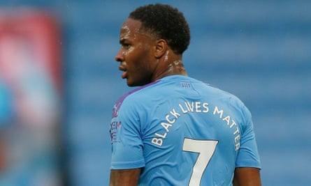 Raheem Sterling at Manchester City's game against Arsenal on 17 June 2020