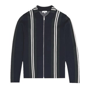 black top with long sleeves white stripes down the front zip up Reiss