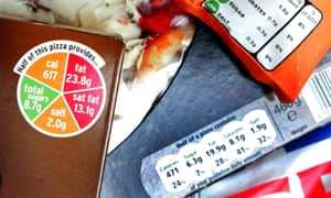 A pizza from Sainsbury's, which has adopted the traffic light system, alongside products with alternative labelling.