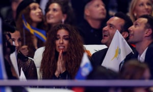 Cyprus's Eleni Foureira reacts as she waits for the results.