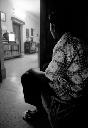 Mizan watching TV, Dhanmondi, Dhaka, Bangladesh, 1996