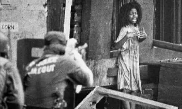 Philadelphia 'stakeout' officer points high powered rifle at child sobbing 'don't shoot, don't shoot,' 8 August 1978.