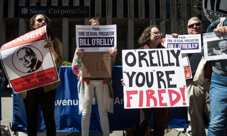 Demonstrators against Bill O'Reilly outside Fox News headquarters in Manhattan on Tuesday.