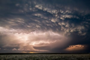 Mesocyclone and mammatus clouds associated with a tornadic supercell pictured in Leoti, Kansas