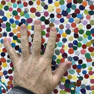 Damien Hirst's first ever spot painting, posted to his Instagram.