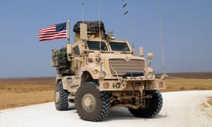 A US military vehicle during redeployment from Syria to Iraq in October 2019.