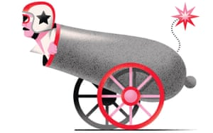 Illustration of human cannonball
