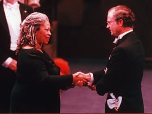 Receiving the Nobel prize for literature from King Carl XVI Gustaf of Sweden in the Concert Hall in Stockholm