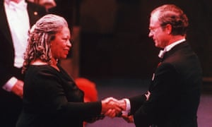 Morrison receives the Nobel prize for literature from King Carl XVI Gustaf in 1993.