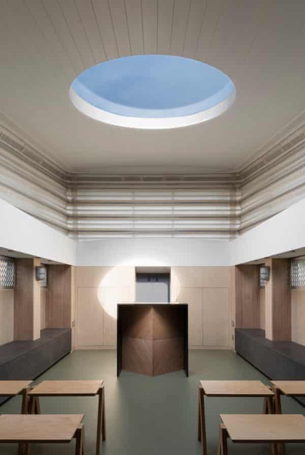 Blue sky thinking … Genesis's interior, with raised roof and halo-like skylight.