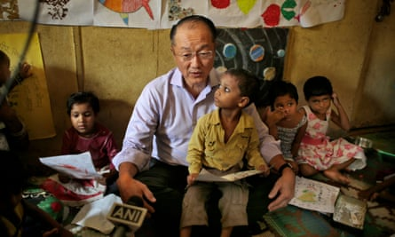 World Bank president Jim Yong Kim at a child and mother care centre in New Delhi, India, June 2016.