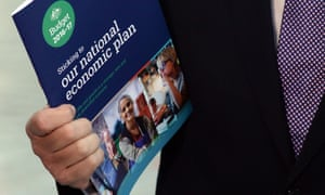 Treasurer Scott Morrison with his budget plan, but the Coalition has presided over a deficit blowout.