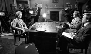 Richard Lindley and Robert Kee interviewing the prime minister, Margaret Thatcher, in 10 Downing Street during the Falklands war, 1982.