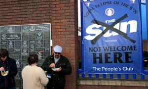 An anti Sun banner outside the Everton's Goodison Park ground prior to Saturday's Premier League match against Burnley.