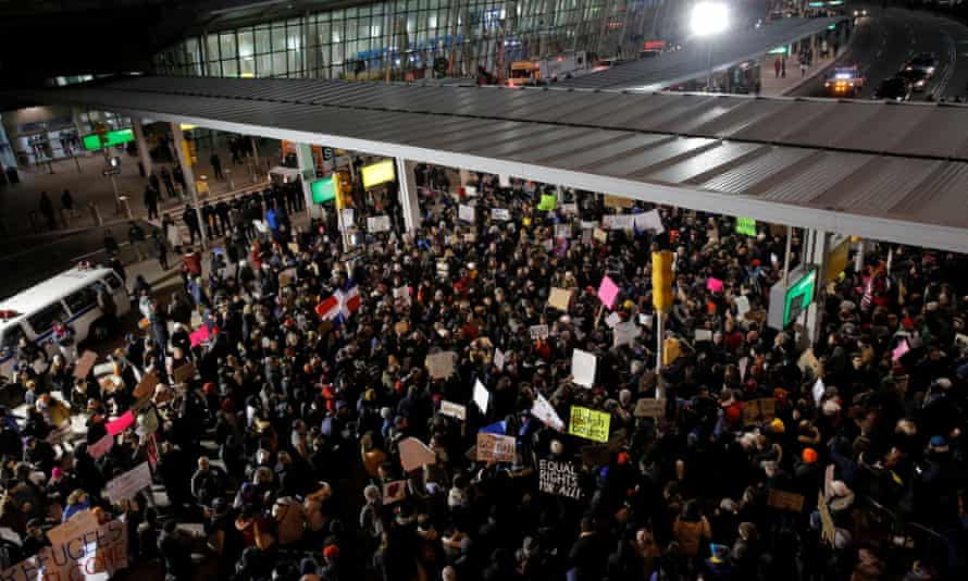 A protest at John F Kennedy airport, New York.