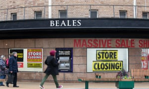 A closing-down sale at the crisis-hit Beales flagship store in Bournemouth.