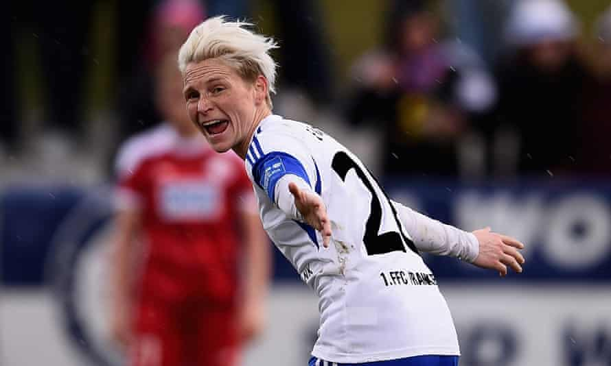 Fishlock during her loan spell at FFC Frankfurt, in April 2015. She won a Champions League medal with the German club