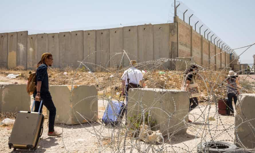 Festival participants go through a checkpoint between Jerusalem and Ramallah.