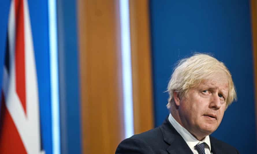 Boris Johnson during Monday's Downing Street press conference