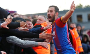 Crystal Palace's Luka Milivojevic celebrates scoring their second equaliser.