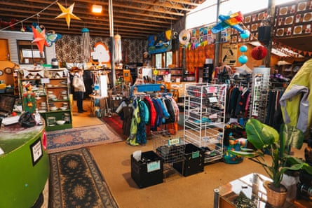 Used clothing and other household goods for sale at Wastebusters, a popular thrift / op shop in Wanaka, New Zealand.