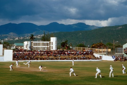 West Indies' Joel Garner bowls a bouncer to England's Phil Edmonds during the First Test at Kingston in February 1986.