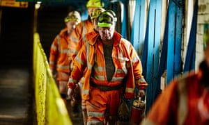 Miners at Kellingley colliery, the deep coal mine that closed in 2015.