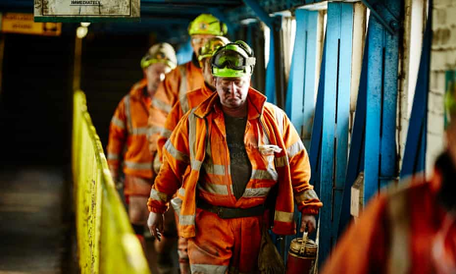 'The lads' leaving Kellingley after a long shift