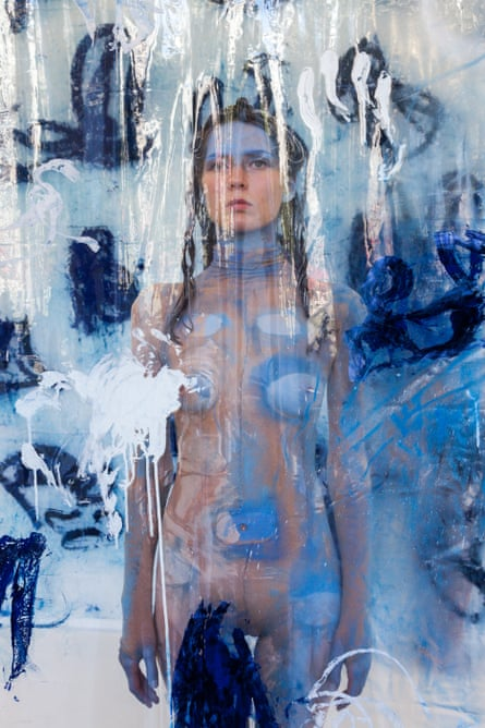 A model poses in Donna Huanca's Surrogate Painteen.