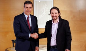 Pedro Sánchez and Pablo Iglesias before talks in July on a coalition.
