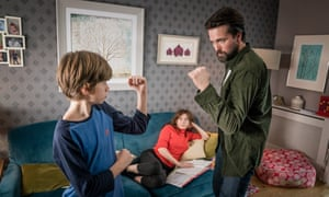 Max (Callum Booth-Ford), Vicky (Anna Friel) and Stephen (Emmett J Scanlan) in Butterfly