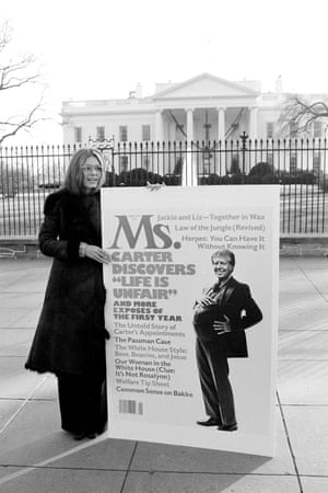 Gloria Steinem holding the January 1978 cover of Ms magazine outside the White House