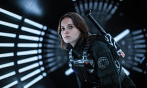 Aping masculinity, or presenting a strong female action star? Felicity Jones in Rogue One.