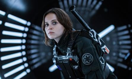 Felicity Jones in the Star Wars prequel, Rogue One, shot at Pinewood Studios.