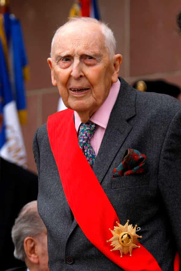 Daniel Cordier in 2018 at a ceremony commemorating General Charles de Gaulle's June 1940 appeal for French resistance against Nazi Germany.