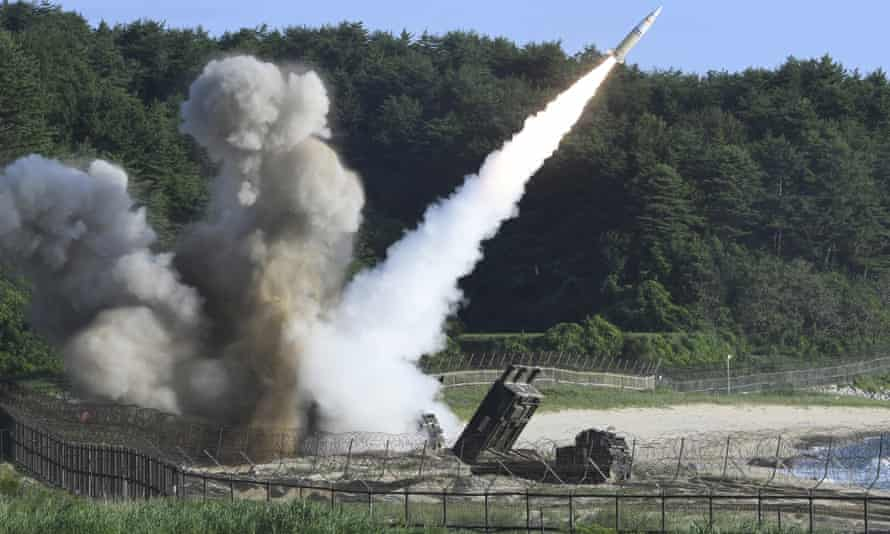 A US MGM-140 army tactical missile is fired during the combined military exercise between the US and South Korea against North Korea on Wednesday.