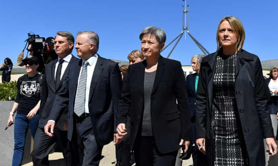 Four labor party ministers at march 4 justice outside parliament house