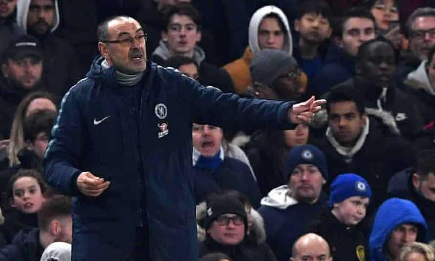 The Chelsea manager, Maurizio Sarri