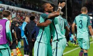 Portugal's Ricardo Quaresma celebrates after scoring their first goal.