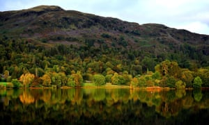 Autumn colour in the trees near Grasmere in the Lake District, Cumbria
