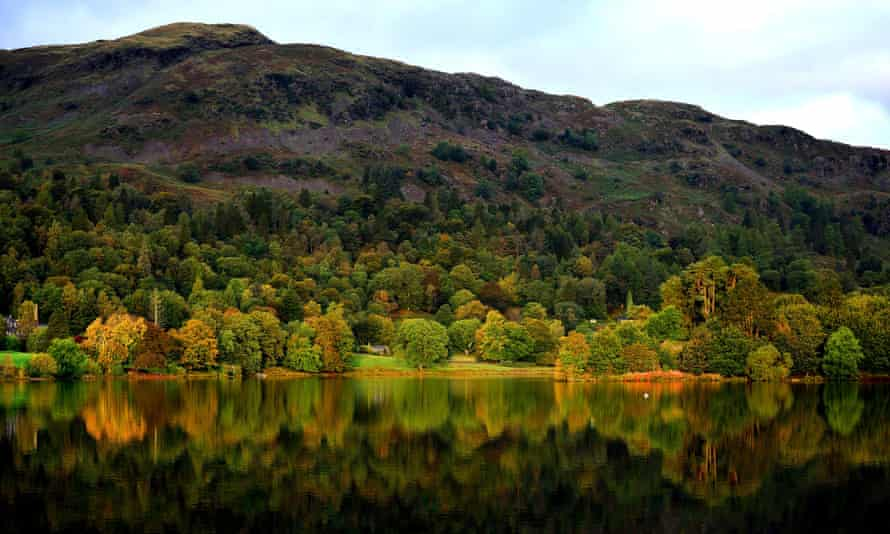 Autumn colour in the trees near Grasmere in the Lake District, Cumbria