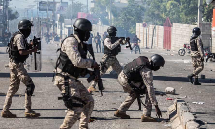 Haitian police in Port-au-Prince on 7 February.