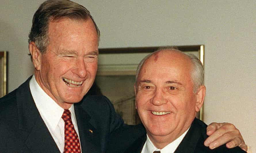 Alongside former Soviet leader Mikhail Gorbachev, in 1999, celebrating 10 years since the collapse of the Berlin Wall.