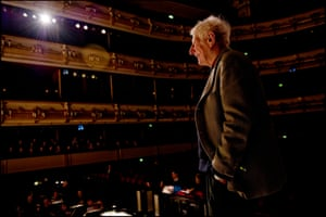 Jonathan Miller looking out over the Royal Opera House orchestra and auditorium.