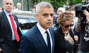 Mayor of London Sadiq Khan and his wife Saadiya Khan arrive for a service at St Clements Church, near to Grenfell Tower in west London.