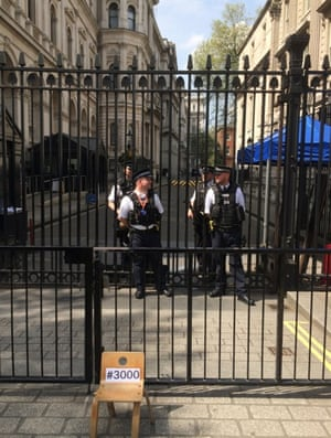 Outside Downing Street … an empty chair