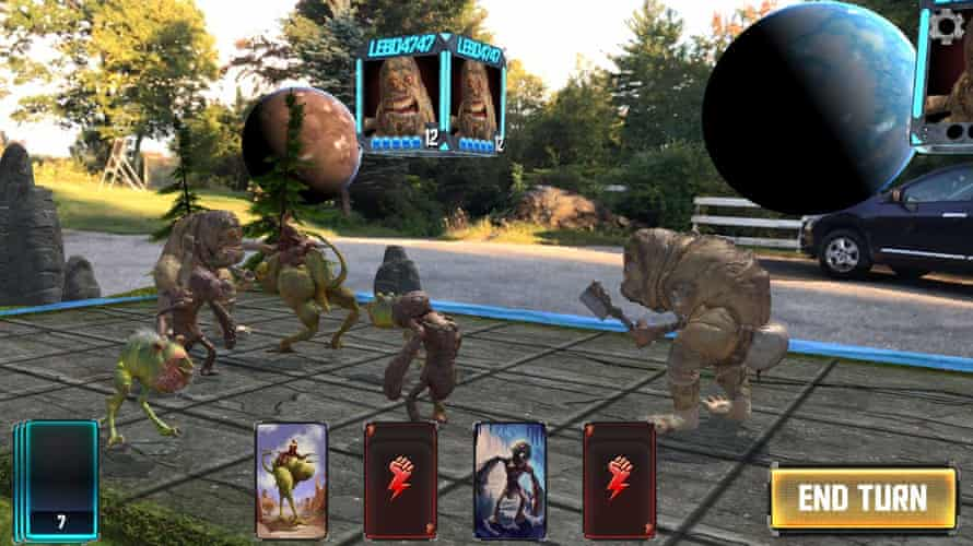 monsters overlaid on reality in the game hologrid monster battle