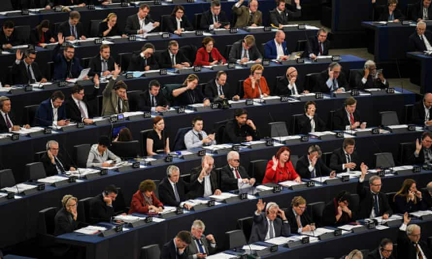 MEPs voting during a plenary session of the European parliament in Strasbourg, France