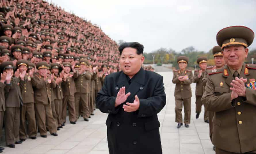 The North Korean leader, Kim Jong-un, with military education officers in Pyongyang
