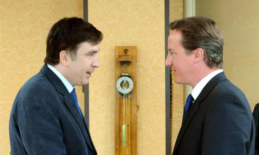 Mikheil Saakashvili, then Georgia's president, meets David Cameron 2008